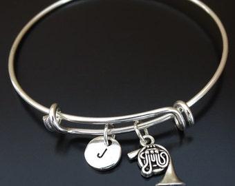 Horn Bangle, Horn Bracelet, Horn Charm, Horn Pendant, Horn Jewelry, French Horn Charm, Orchestra Member, Horn Gifts, Musician Gift Idea