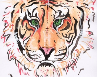 A4 Original Tiger watercolour. Tiger painting. Tiger art. Original art. Original painting. Wildlife art. Wildlife painting. Animal Wall art.