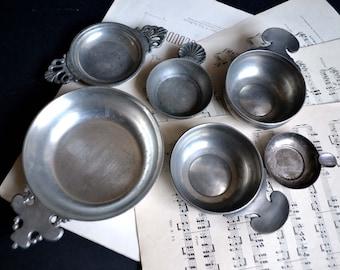 Collection of 6 Vintage French Sommelier Wine Tasting Cups Pewter Tastevin Sommelier Barware