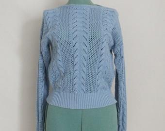 Vintage Pastel Pointelle Sweater - 1980's Light Blue Sweater by Personal - Powder Blue - Preppy Sweater - Size M/L