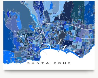 Santa Cruz Map Print, California, USA, Blue City Wall Art