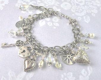 Swarovski Crystal Pearl Silver Charm Bracelet, Boho Wedding Ivory Jewelry for Bride, Bohemian Bridal Jewellery, Gift for Her, Birthday
