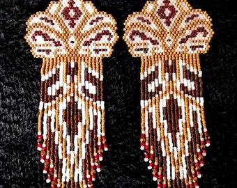 FREE SHIPPING! Native American Style Earrings, OOAK Earrings, Seed Bead Earrings, Long Fringed Earrings, Delica Seed Beads