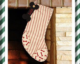 Personalized Dog Bone Stocking, Personalized Dog Stocking, Embroidered Dog Stocking, Embroidered Bone Stocking
