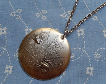 The Spider and The Fly Caught in My Web Antique Silver Plated Pendant Charm Necklace