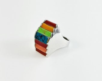 Rainbow Ring - Large Sterling Multicolor Ring Size 6.75 - Stepped Ring - Colorful Statement Ring
