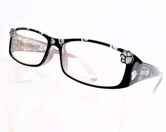 Dog Paw Reading Glasses,  Black and Silver readers with painted Paw Prints +1.75