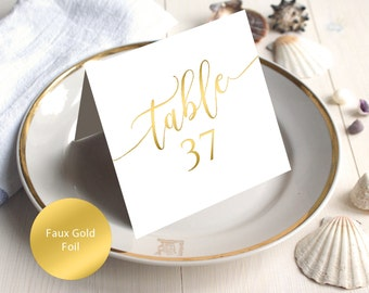 PDF Wedding 1-40 Faux Gold Table Numbers 5x5 Head Table Tented Folded style Table Number INSTANT DOWNLOAD Wedding calligraphy Printable