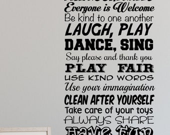 Playroom Rules Decal/Removable/Playroom/Nursery/Big/Play Time/Toy Box/Handmade/Girls room/boys room/Baby