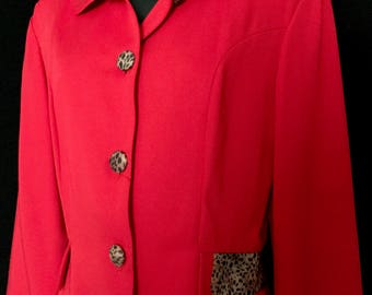 Vintage 80s Red Suit With Leopard Accents       VG287