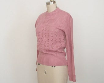 Vintage Scoop Neck Pullover Sweater - Minimal Pink Sweater - Ribbed - Women's Small - Dusty Pink  Long Sleeve Sweater