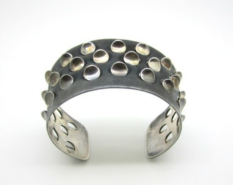 Modernist Brutalist Grete Prytz Kittelsen J Tostrup Sterling Silver Cuff Bracelet Oslo Norway 1950s