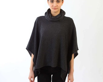 Knitted poncho, Anthracite color cape, Knitted cape, Cashmere poncho, Lightweight poncho, Cashmere blend poncho, Hooded poncho, Grey cape