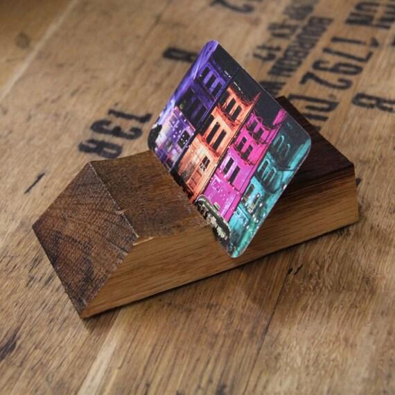 Reclaimed Bourbon Business Card Holder / Upcycled Bourbon Barrel Desk Top Business Card Display / Recycled Wood Card Stand / Bourbon Barrel