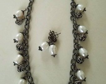 Freshwater Baroque Pearl Necklace Set on Black