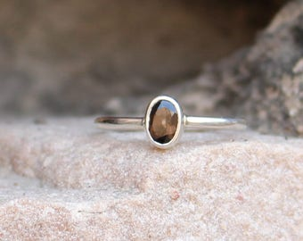 Natural Smoky Quartz Ring - 925 Sterling Silver Ring Handmade - Anniversary Ring