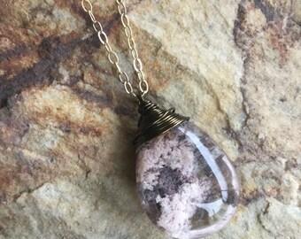 Lodolite Quartz necklace, garden Quartz necklace, scenic Quartz necklace