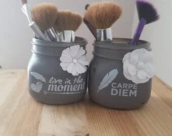 Gray & White Makeup Jars.Bathroom Counter Storage.Mason Jar Makeup Brush Holder.Cosmetics Organizer.Makeup Brush Organizer.Bathroom Storage.