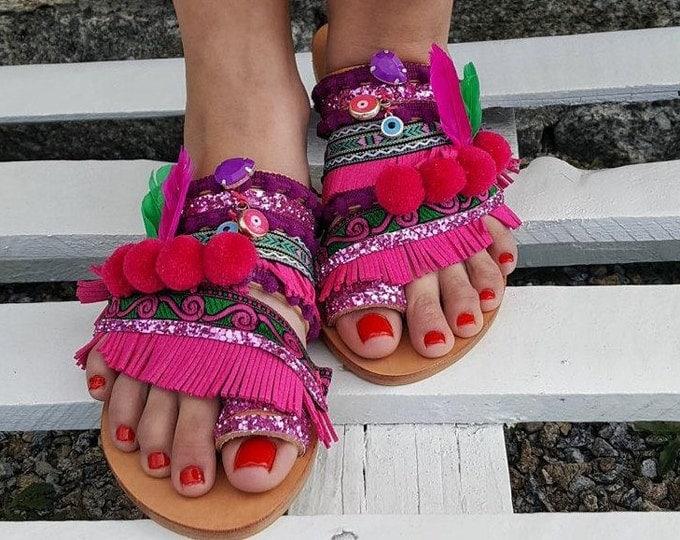 "Greek handmade sandals ""ARTEMIS ""pompoms sandals,fringes sandals,boho ethnic sandals,leather shoes,feathers,pink sandals,women's sandals"