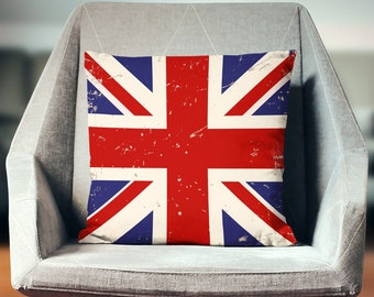 Union Jack Decor | British Flag Pillow | British Pillow | Union Jack Pillow | Industrial Pillow | Vintage Pillow |  Union Jack Cushion