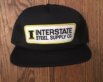 Vintage Interstate Steel Supply Co Mesh Trucker Hat Snapback Baseball Cap Patch