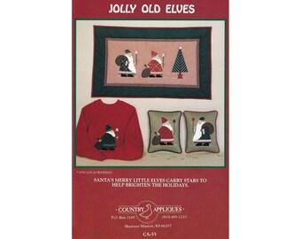 Jolly Old Elves vintage applique pattern, santa applique, sewing pattern, holiday pattern, santa claus, st. nicholaus