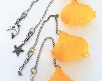 Tea Infuser Yellow Submarine, with Dolphin, Starfish, Mermaid, Fish, We all brew in a Yellow Submarine