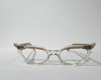 Vintage Clear Cat Eye Glasses Frames, New Old Stock, 60s Brown & Clear Winged Cateye Eyeglasses, NOS Pointy Atomic Rockabilly French Cateye