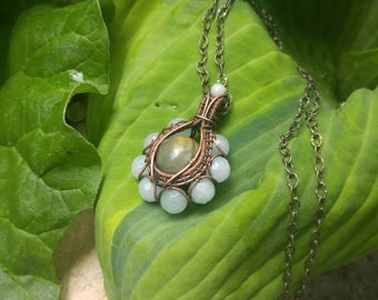 Wire Wrapped Jasper and Amazonite Necklace: The Iris Collection