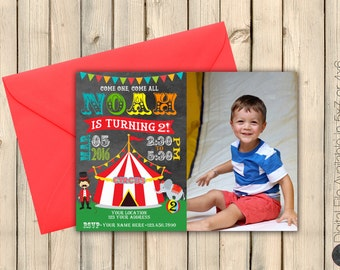 Circus First 1st Birthday Invitation with Photo Invitation, Carnival Birthday Party Invite, Under the Big Top, Clown, Lion, Elephant DIGITAL