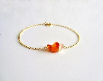 Raw Carnelian bracelet / 14K gold vermeil delicate chain / Gold Raw Gemstone Bracelet / Dainty Bracelet / Tiny Gemstone Bracelet