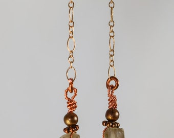 Quartz Crystal Dangle Earrings #1