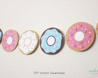 Donut Banner Garland, Donut Decorations, Donut Decor, Donut Printable, Donut Party Instant Download, Doughnut Banner Instant Download DIY