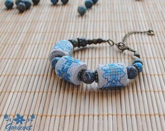 Agate bracelet blue bead bracelet gift for women boho bracelet fabric bracelet embroidery jewelry birthday gift for wife gift for girlfriend