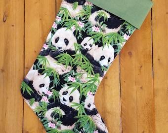 Panda Bear Quilted Christmas Stocking
