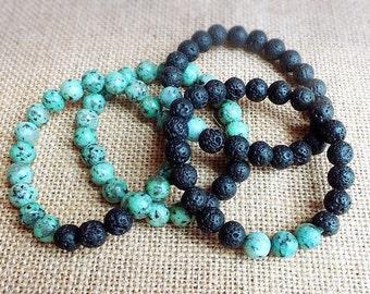Lava Rock Bracelets, Gemstone Bracelets, Oil diffusing bracelets, yogi gift, Mother's Day gift, Lava Rock diffuser bracelet, Sesame Jasper
