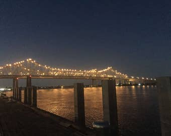 Bridge Over the Mississippi River, New Orleanes, Louisiana, Lights on the Water, Night Shot, Digital Photography