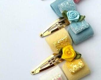 100% Wool felt, glitter, snap clips,rose gold, flower, white, pale yellow, pink, blue,wedding,bridesmaid, christening, party, girls, uk