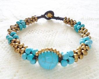 Turquoise twist macrame bracelet, Tinkling bell macrame bracelet