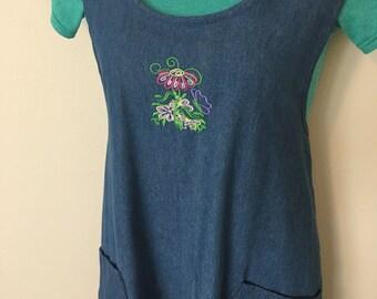 Women's plus size pinafore apron, denim pinafore, cross-back apron, japanese apron dress, flower apron, embroidered apron