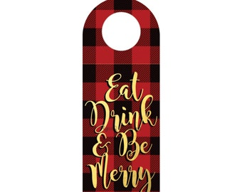 Eat Drink and Be Merry - DIY Wine Bottle Tag Printable Christmas Party Decor - Holiday Party Decor