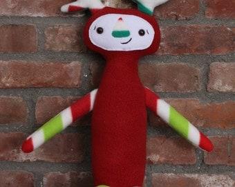 Plush Creature Doll, Handmade Plush Monster, Holiday Plush, Christmas Monster, OOAK Childrens Toy, Handmade Stuffed Animal