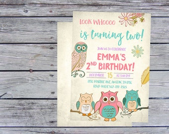Owl Birthday Invitation, Owl Birthday Party, Owl Invitation, Look Whoo Is turning two, Owl Invite, Owl Invites, Owl themed, Owl printable,