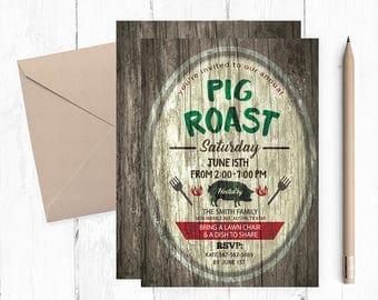 Pig Roast Invitation, Pig Roast Invitations, Pig Roast Invites, Pig Roast Invite, Pig Roast Party invites, Pig Roast Party Invitations, BBQ