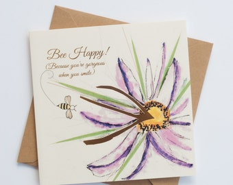 """Bee Happy """"Bee-Attitudes"""" by Love Bee Card   Friendship   Encouragement   Just Because Card"""
