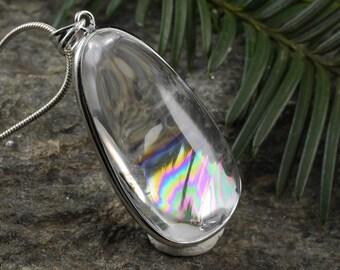 One Large Rainbow QUARTZ Pendant - STERLING SILVER Pendant, Natural Quartz Crystal Necklace, Rainbow Crystal, Quartz Cabochon E0189