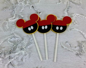 Mickey Mouse Cupcake Toppers, Mickey Mouse Party, Mickey Mouse Birthday, Multi-color, Set of 24