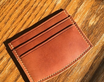 Handmade Leather Bridle Card Wallet - Hand stitched