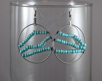 Turquoise Seed Bead Earrings/Beaded Hoop Earrings