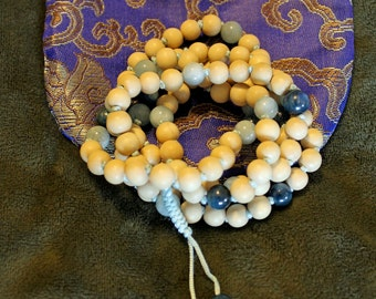 White Wood, Aquamarine, & Kyanite Knotted Handmade Meditation Beads
